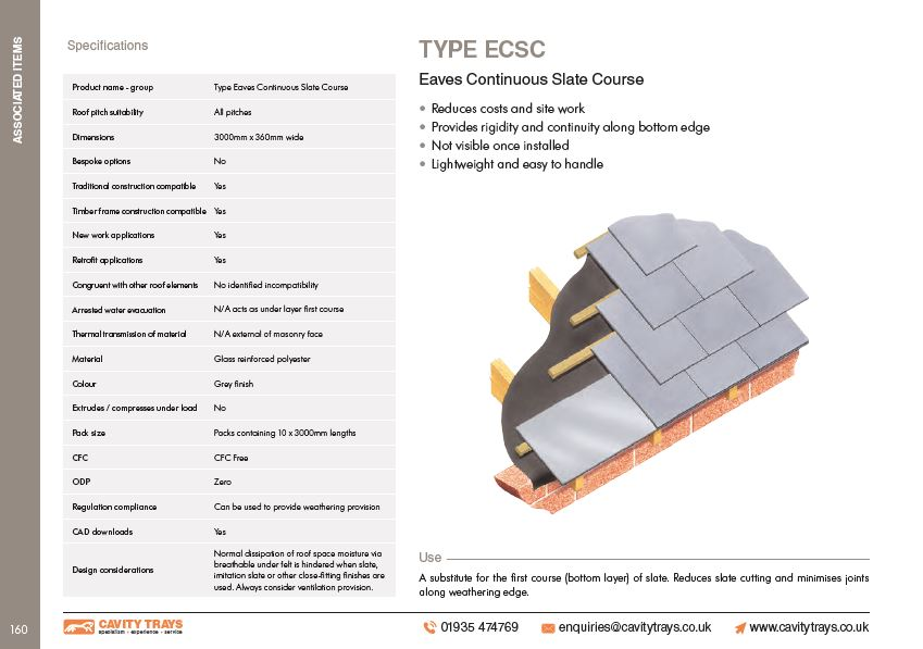 Type ECSC Eaves Continuous Slate Course Datasheet