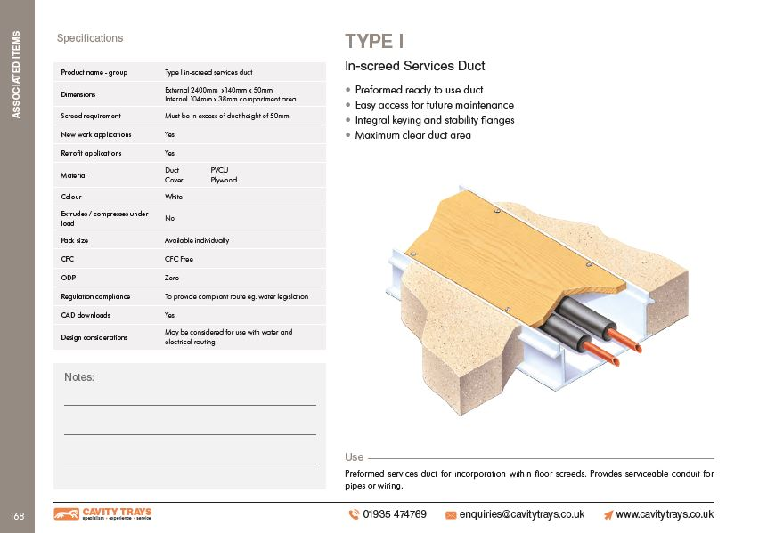 Type I In-screed Services Duct Datasheet