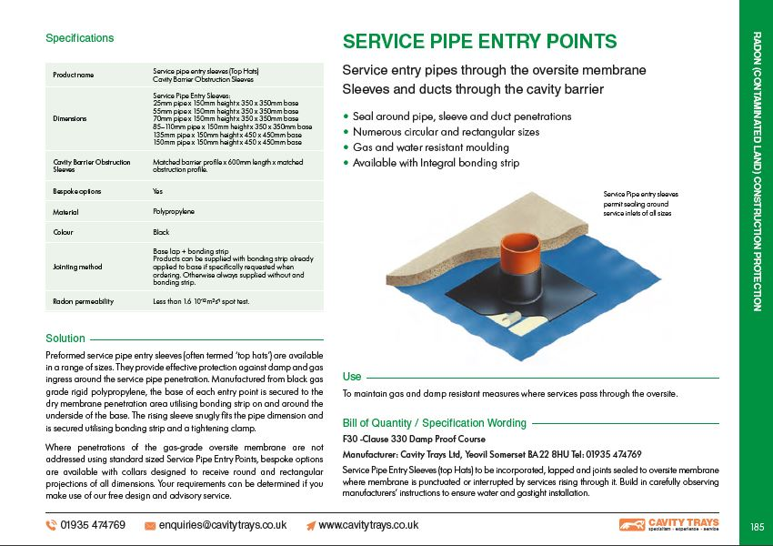 Service Pipe Entry Seals (top hats) Datasheet