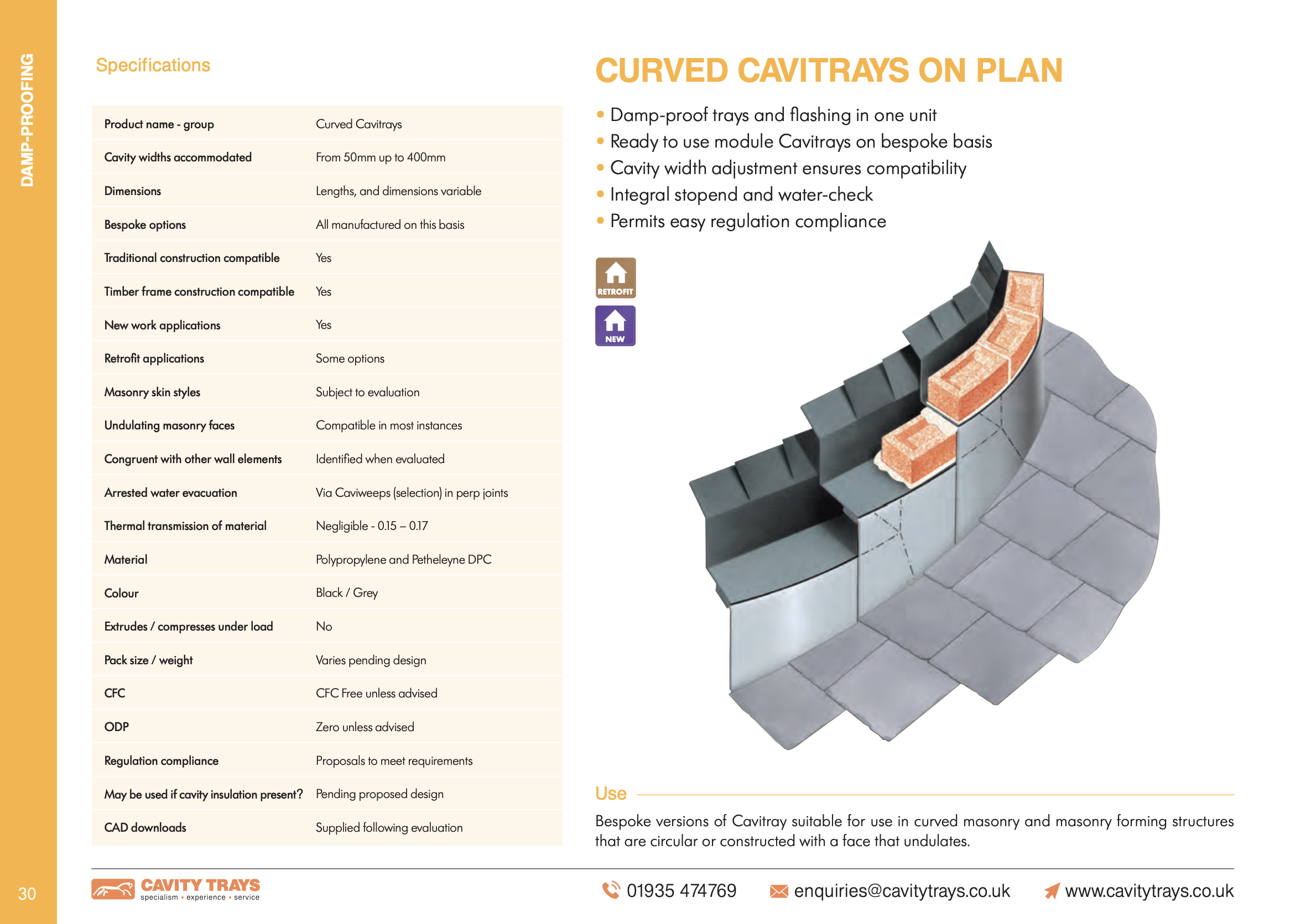 Curved Cavitray - on plan Datasheet