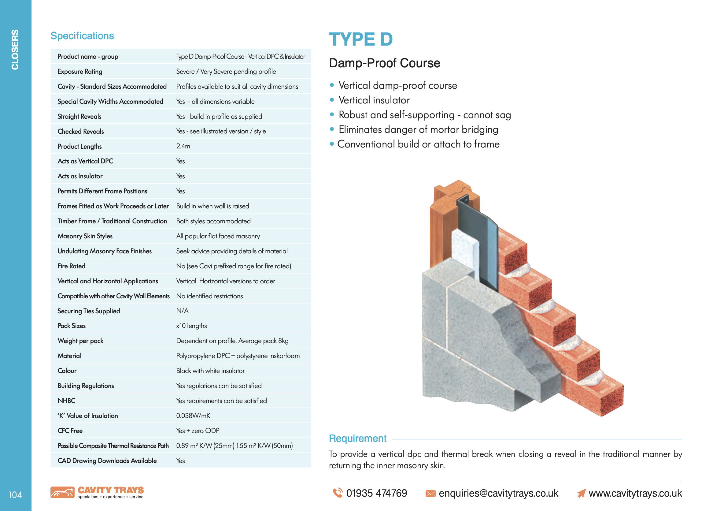 Type D Damp-Proof Course Datasheet