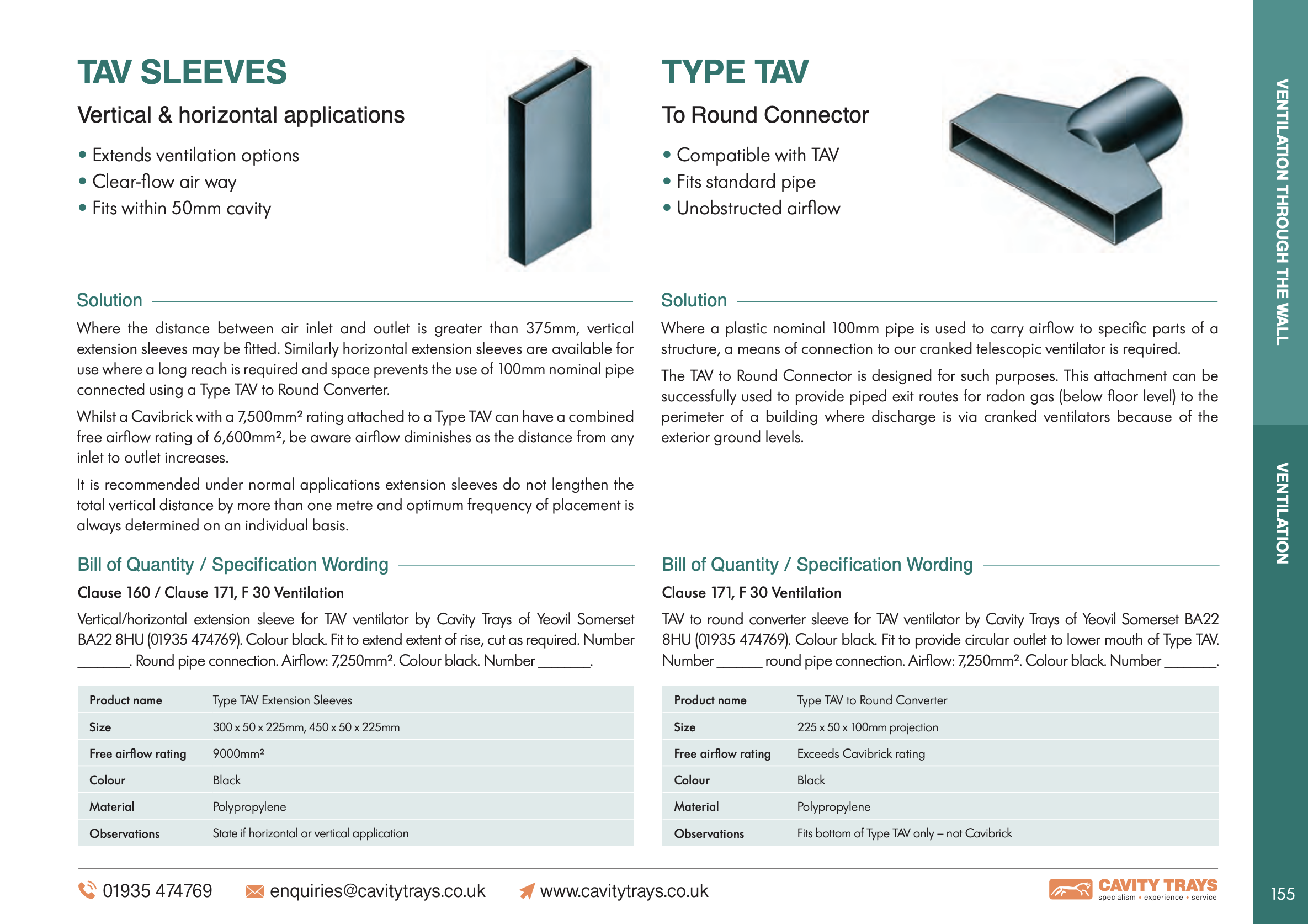 Extension Sleeves Vertical and Horizontal Datasheet