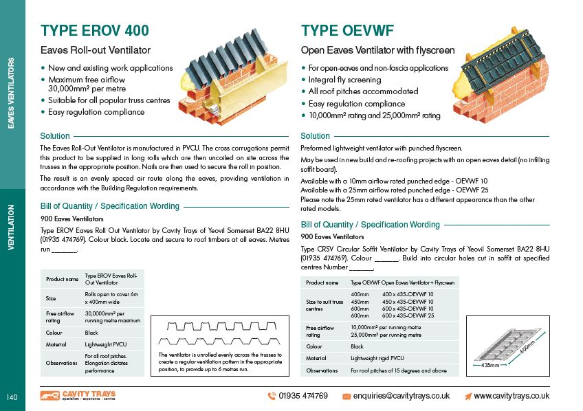 Type OEVWF Open Eaves Ventilator with flyscreen Datasheet